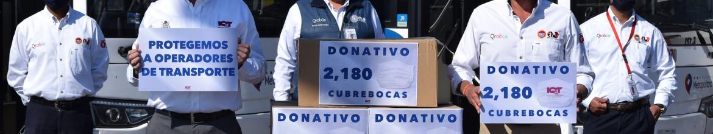 Sindicato de Móvil Qrobús recibe donativo de cubrebocas reutilizables